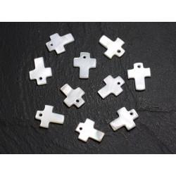 10pc - Perles Breloques Pendentifs Nacre Blanche Croix 12mm 4558550023643