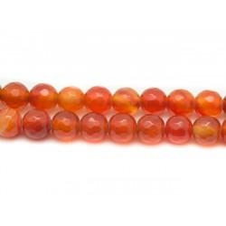10pc - Perles de Pierre - Cornaline Boules Facettées 6mm Rouge Orange 4558550038210