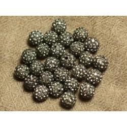 10pc - Perle Polymère et Strass Verre 8mm Gris et Blanc 4558550023957