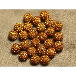 10pc - Perle Polymère et Strass Verre 8mm Orange 4558550024220