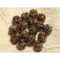 5pc - Perles Shamballas Résine 14x12mm Noir et Multicolore 4558550024398