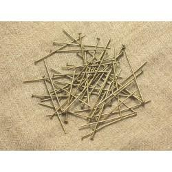 100pc - Tiges Clous à Tete plate Métal Bronze - 35 x 2 x 0.7mm 4558550024466