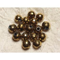 4pc - Perles de Pierre Perçage 2.5mm - Hématite Dorée Facettée 10mm 4558550024732