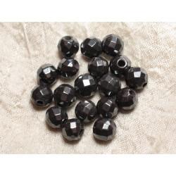 5pc - Perles de Pierre Perçage 2.5mm - Hématite Facettée 10mm 4558550026736
