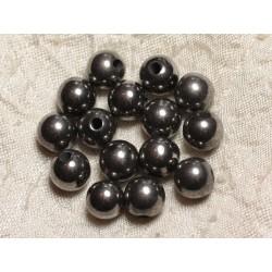 5pc - Perles de Pierre Perçage 2.5mm - Hématite Rhodium 10mm 4558550024954
