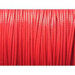 5 Mètres - Cordon de Coton Ciré 1mm Rouge 4558550025005