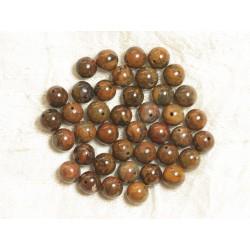 10pc - Perles de Pierre - Turquoise vert kaki marron Boules 8mm 4558550035707