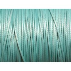 10 Mètres - Cordon de Coton Ciré Bleu clair 0.8mm 4558550025111