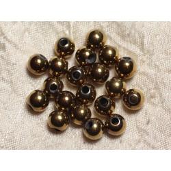 5pc - Perles de Pierre Perçage 2.5mm - Hématite Dorée 8mm 4558550025142