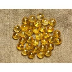 10pc - Perles de Pierre - Quartz Jaune Boules 8mm 4558550025258
