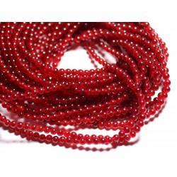 40pc - Perles de Pierre - Jade Boules 4mm Rouge Cerise 4558550025302