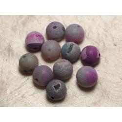 Perle de Pierre Perçage 2.5mm - Agate Bleue et Rose Givrée 18mm 4558550025548