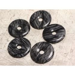 Pendentif Pierre semi précieuse - Jaspe Zèbre Donut Pi 40mm 4558550025579
