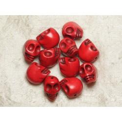 5pc - Perles Crânes Têtes de Mort Turquoise 18mm Rouge 4558550025845