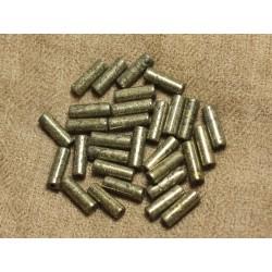 4pc - Perles de Pierre - Pyrite Dorée Colonnes Tubes 13 x 4mm - 4558550025920