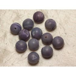 1pc - Perle de Pierre Perçage 2.5mm - Agate Violette Givrée 18mm 4558550026064