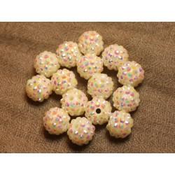 5pc - Perles Shamballas Résine 14x12mm Blanc 4558550026071