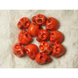 5pc - Perles Crânes Têtes de Mort Turquoise 18mm Orange 4558550026095
