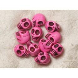 5pc - Perles Crânes Têtes de Mort Turquoise 18mm Rose 4558550026118