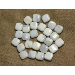 5pc - Perles de Pierre - Calcédoine Carrés 10mm 4558550026187