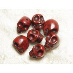 5pc - Perles Crânes Têtes de Mort Turquoise 18mm Marron 4558550026248