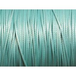 5 Mètres - Cordon de Coton Ciré 1mm Bleu Turquoise 4558550026262