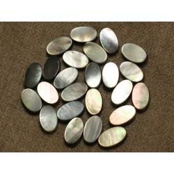 6pc - Perles Nacre noire naturelle - Ovales 12 x 8mm 4558550026286