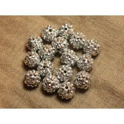 5pc - Perles Shamballas Résine 14x12mm Argenté 4558550026316