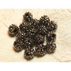 5pc - Perles Shamballas Résine 14x12mm Noir et Argenté 4558550026347