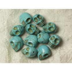 5pc - Perles Pierre Turquoise synthèse Crânes Têtes de Mort 18mm Bleu Turquoise - 4558550026378