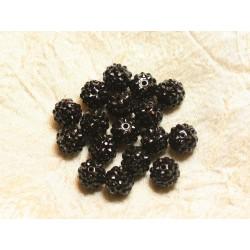 5pc - Perles Shamballas Résine 14x12mm Noir 4558550026392