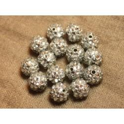 5pc - Perles Shamballas Résine 14x12mm Argenté et Transparent 4558550026408