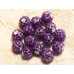 5pc - Perles Shamballas Résine 14x12mm Violet Fuchsia et Blanc 4558550026491