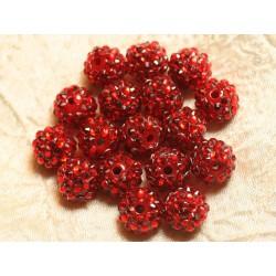 5pc - Perles Shamballas Résine 14x12mm Rouge 4558550026507