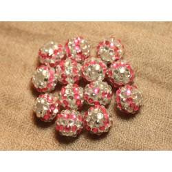 5pc - Perles Shamballas Résine 14x12mm Rose et Transparent 4558550026545