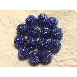 5pc - Perles Shamballas Résine 14x12mm Bleu 4558550026620