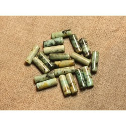 4pc - Perles de Pierre - Turquoise Afrique Colonnes Tubes 15x5mm - 4558550091703