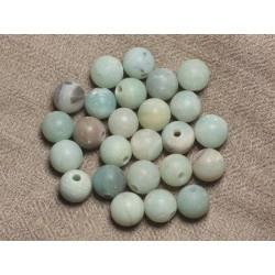 4pc - Perles de Pierre Perçage 2.5mm - Amazonite Mat Boules 10mm 4558550026781