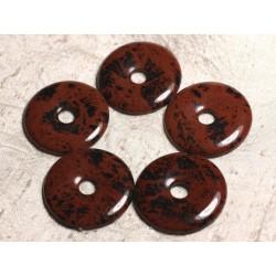 Pendentif en Pierre - Obsidienne Acajou Mahogany Donut Pi 40mm 4558550026859
