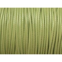 10 Mètres - Cordon de Coton Ciré 0.8mm Vert anis 4558550027023