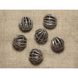 Perle Métal Argenté Rhodium Boule Cage 18mm - 1pc 4558550027313