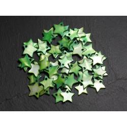 10pc - Perles Breloques Nacre Etoiles Vertes 12-13mm 4558550027863