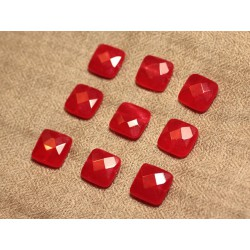 2pc - Perles de Pierre - Jade Carrés Facettés 14mm Rouge - 4558550028013