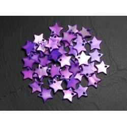 10pc - Breloques Pendentifs Nacre Etoiles Violettes 12-13mm 4558550028136