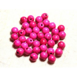 20pc - Perles Turquoise Synthèse Boules 8mm Rose 4558550028419