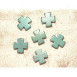 2pc - Perles Turquoise Synthèse - Croix 25mm Bleu turquoise 4558550028464