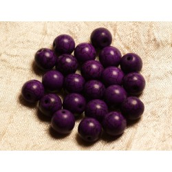 10pc - Perles Turquoise Synthèse Boules 10mm Violet 4558550028563