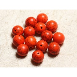 10pc - Perles Turquoise Synthèse Boules 12mm Orange 4558550028570