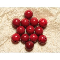 4pc - Perles Turquoise Synthèse Boules 14mm Rouge 4558550028587