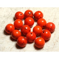 4pc - Perles Turquoise Synthèse Boules 14mm Orange 4558550028709